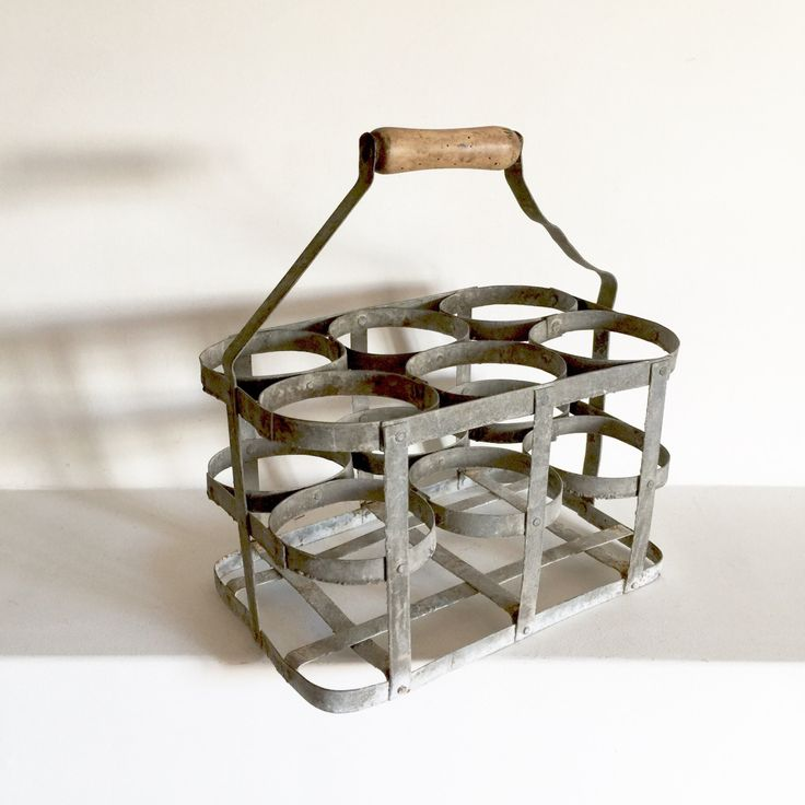 French Antique Zinc Bottle Carrier Galvanized Metal
