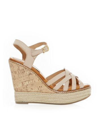 Stone Leather Cross Strap Wedges