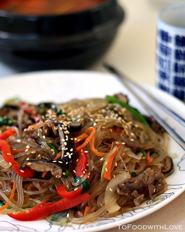 To Food with Love: Japchae (Korean Stir-fried Sweet Potato Noodles)