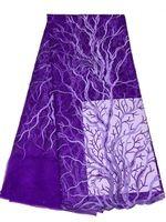 Новинка фиолетовый сетка вышитым узором дизайн чистая африканский кружевной ткани для пошива французские кружева материал с камнями 5 ярды