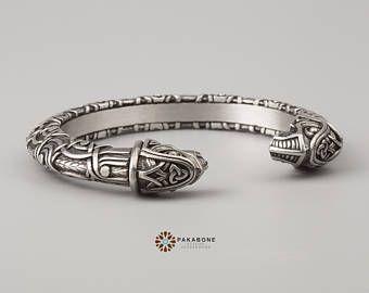 Viking Bracelet With Odin's Ravens Hugin & Munin Scandinavian Bracelet Viking Jewelry Pewter art. 001-091