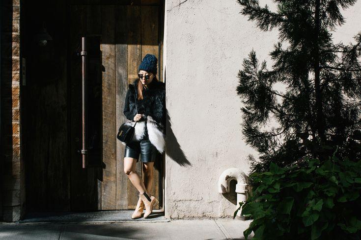 Ashley B Vest, Everlane Sweater, COS Shorts, Dear Frances Boots (in Caramel), Céline Bag, & Other Stories Hat, Dior Sunglasses