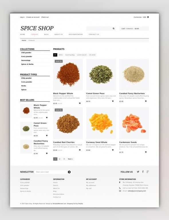Spice Shop Responsive Shopify Theme E-commerce Templates, Shopify Themes, Food & Restaurant, Food & Drink Templates, Spice Shop Templates