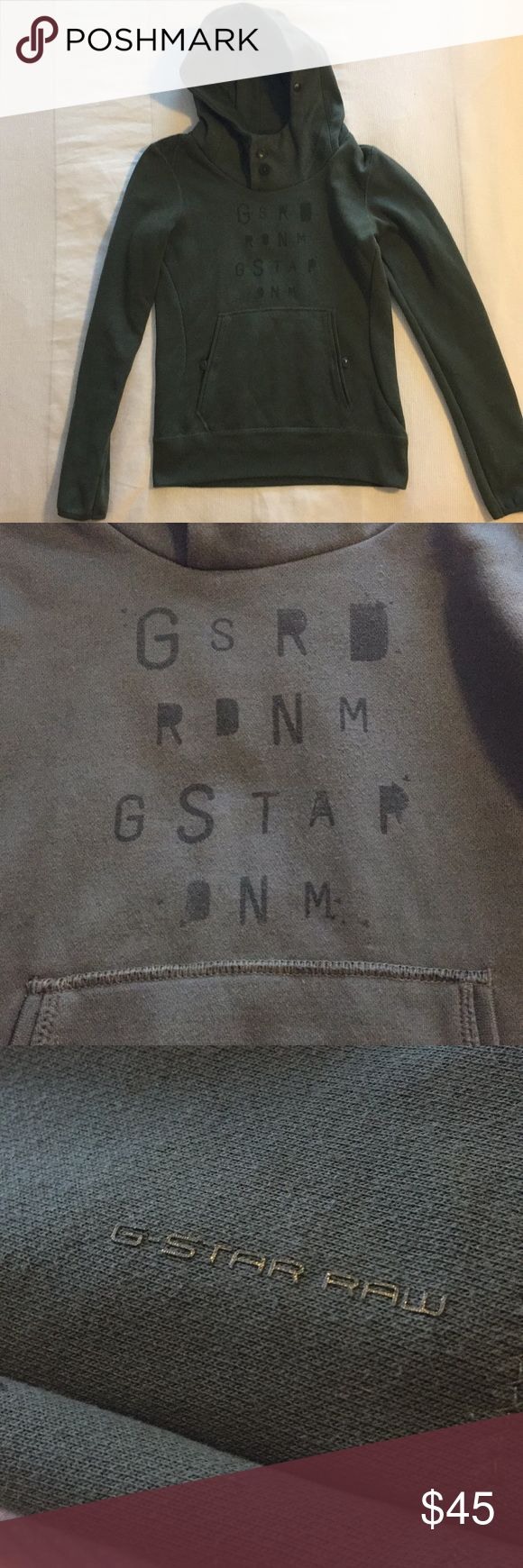 G-Star Raw Hoodie Popular brand G-Star Hoodie in green. Very comfortable. Very gently used. In great condition! Great with your denim look or even with leggings and boots when it's chilly outside. G-Star Tops Sweatshirts & Hoodies