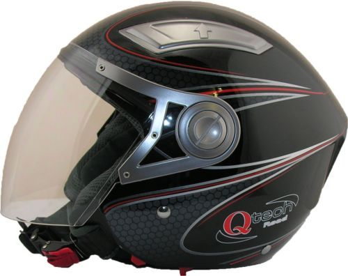 OPEN-Face-Crash-Helmet-by-Qtech-with-VISOR-Scooter-Motorbike-Motorcycle-BLACK  £29.95