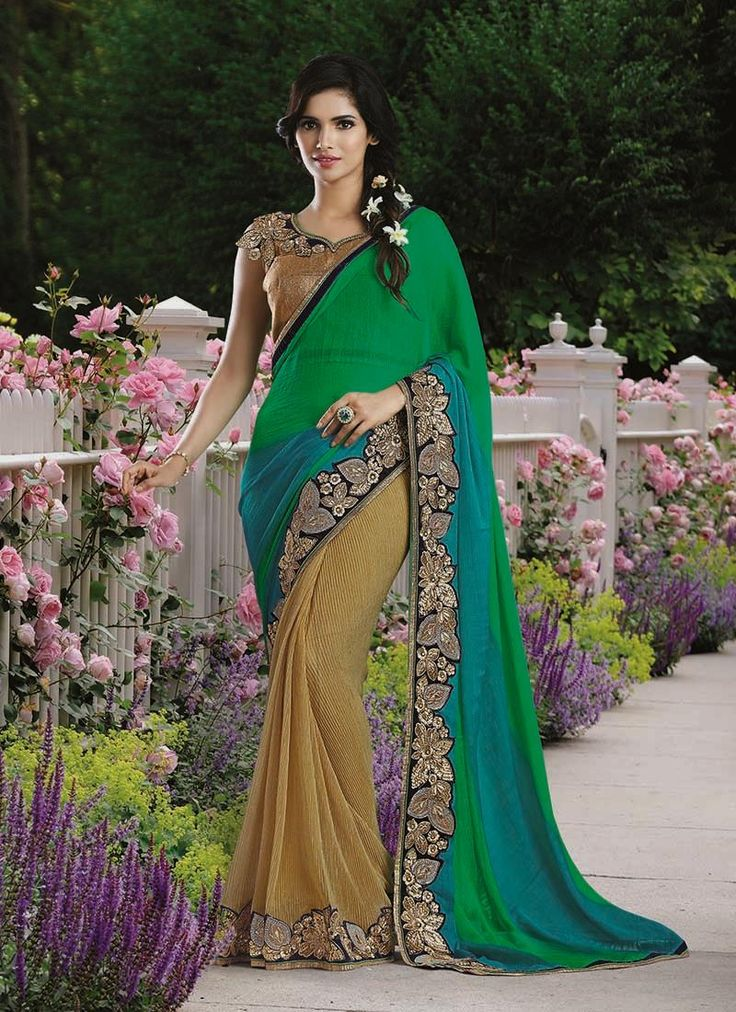 Saree goes well for all occasions. Order this irresistible faux chiffon and lycra designer saree for party and wedding. Free shipping in india and cod.