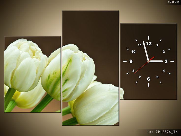obraz z zegarem białe tulipany