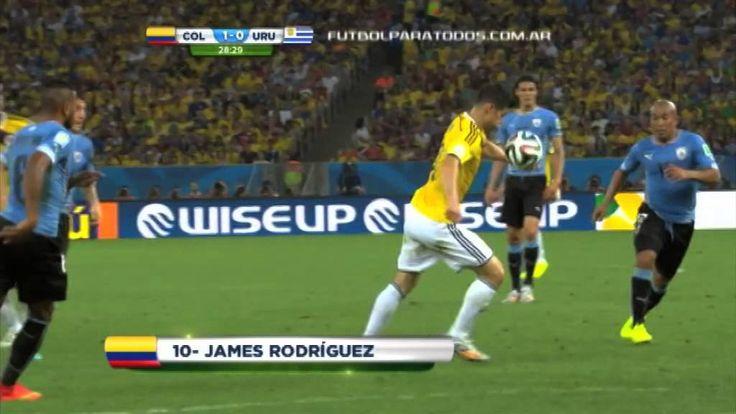 Desde todos los ángulos el gol de James. Colombia 1 - Uruguay 0. Mundial...