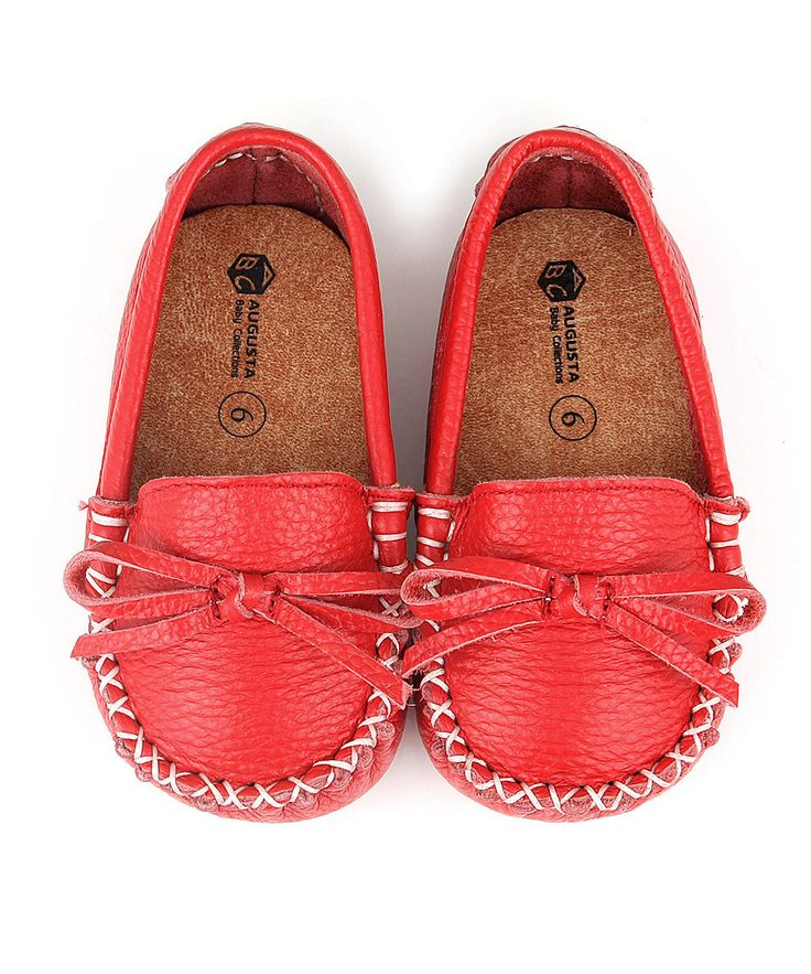 Augusta Baby Red Leather Moccasin | zulily