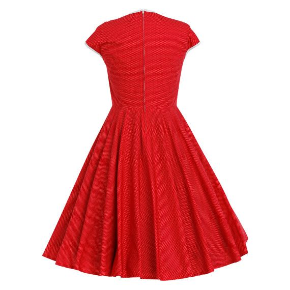 Red Christmas Dress Retro Dress Vintage Style por LadyMayraClothing