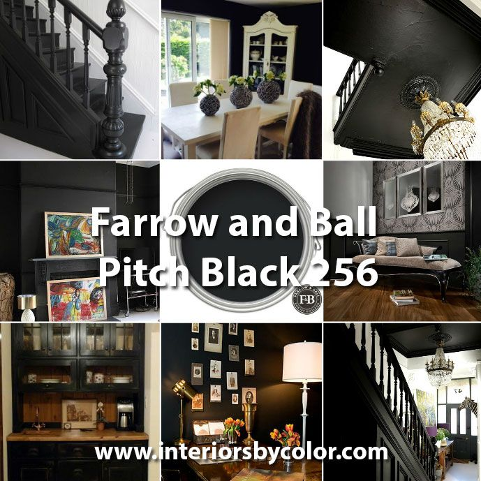 Farrow and Ball Pitch Black 256  Black, Paint Color Schemes