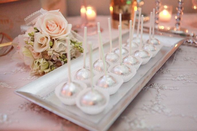 Metallic cake pops...photo by melody melikian photography