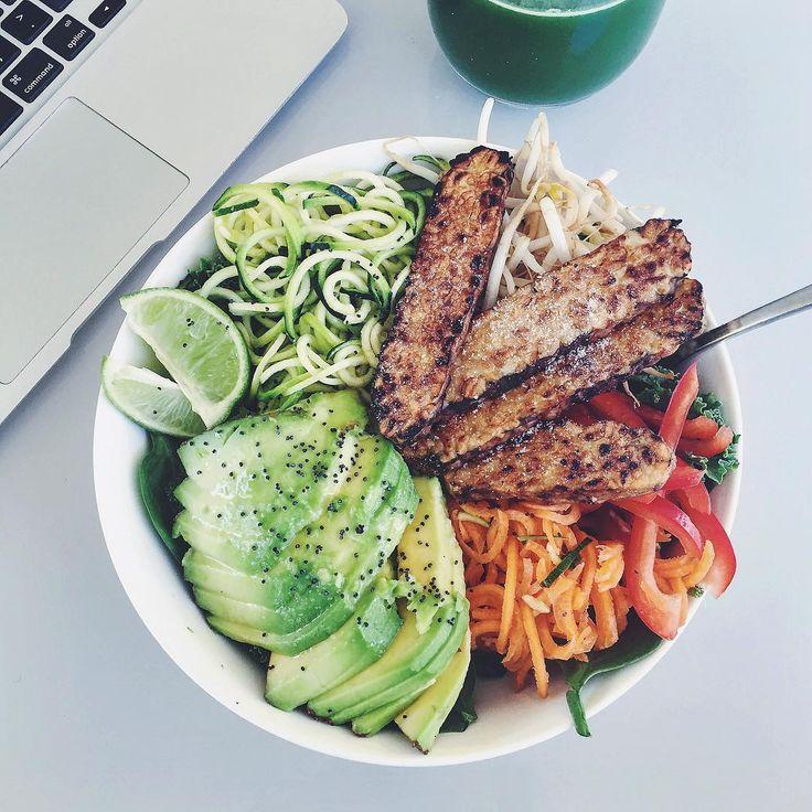 """gapzillaa: """" Tempeh & kale salad  #organic #vegan """""""