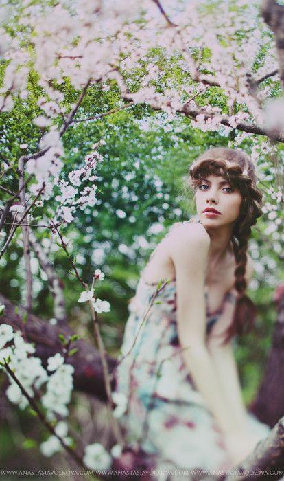 Love!: Volkova Photography, Cherries Blossoms Photography, Hair Braids, Inspiration Photography, Outdoor Fashion Photoshoot, Blossoms Trees, Fashion Photography, Anastasia Volkova, Photography Inspiration
