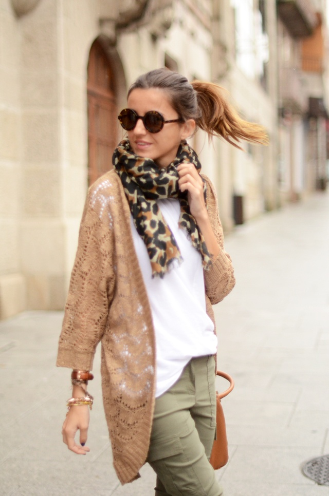 beige cardigan + leopard scarf + military green skinny via LovelyPepa. I  would choose a different style cardi though