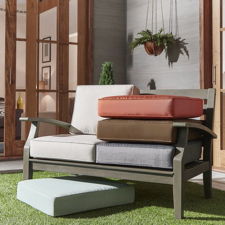 Isola Outdoor Fabric Loveseat Cushions by Napa Living (Brown Loveseat Cushions), Outdoor Cushion