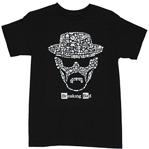 Breaking Bad Mens T-Shirt - Walter White Heisenberg Face Made of Show Images (Large) Black @ niftywarehouse.com #NiftyWarehouse #BreakingBad #AMC #Show #TV #Shows #Gifts #Merchandise #WalterWhite