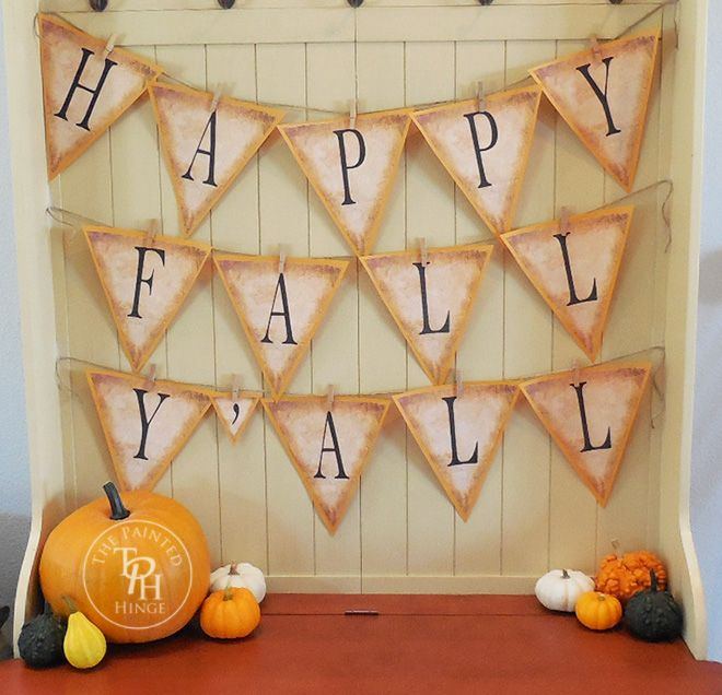 Happy Fall Y'all banner as free printables for Fall decorating! Just print them, cut them out, and hang them up for a gorgeous Fall banner!
