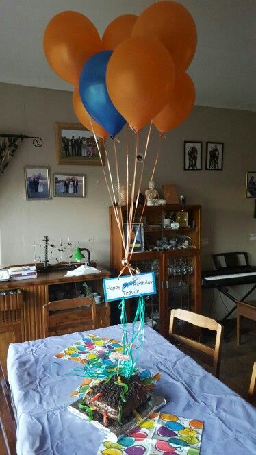 Birthday decor - 9 years old - helium filled balloons and hanging sign.