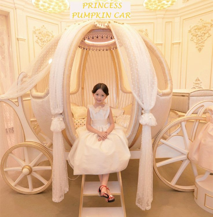 Furniture European Cinderella Carriage Bed Pumpkin Shape White Polka Dot  Curtains Wooden Material White Finish Coach