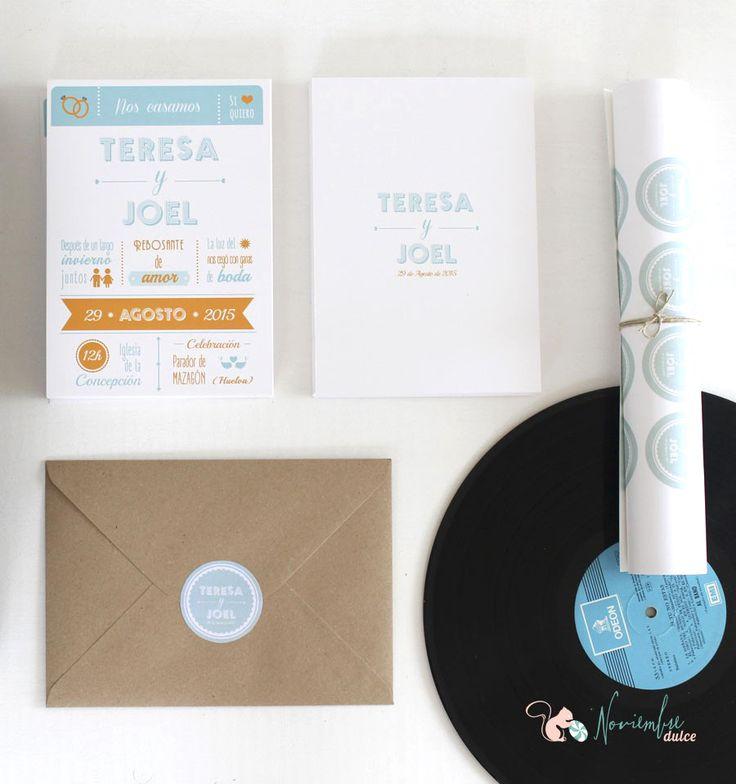 """Invitación icónica y tipografica en turquesa y mandarina. """"loving types"""" wedding invitation."""