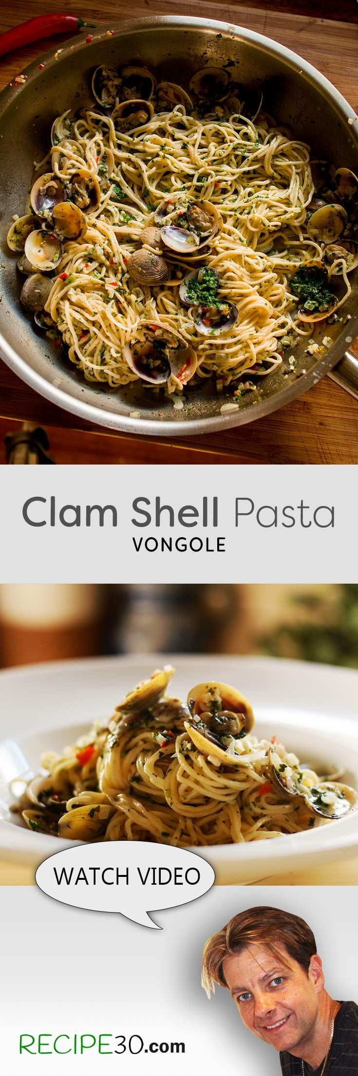 Clam Shell Pasta Vongole Linguine with chili and garlic