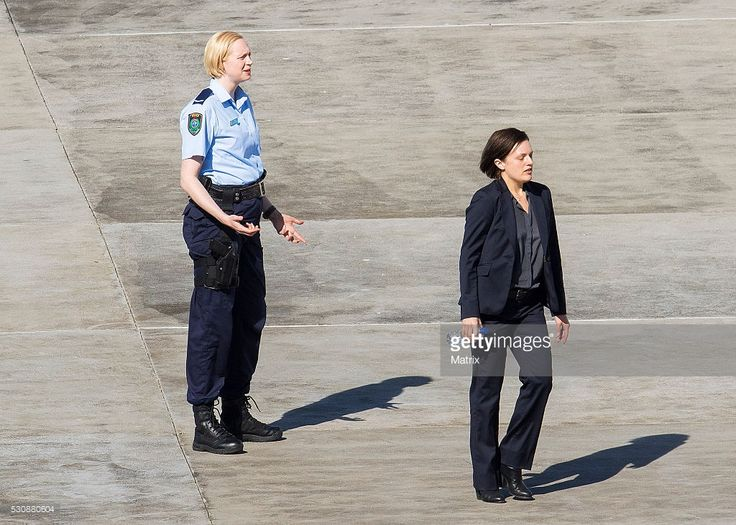 Elisabeth Moss and Gwendoline Christie are seen on the set of Top Of The Lake at Coogee on May 12, 2016 in Sydney, Australia.
