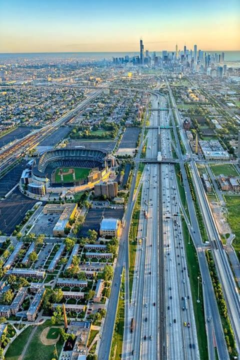 Looking north over the Dan Ryan Expressway.  That's US Cellular Field {home of the White Sox since 1991 up on the left}