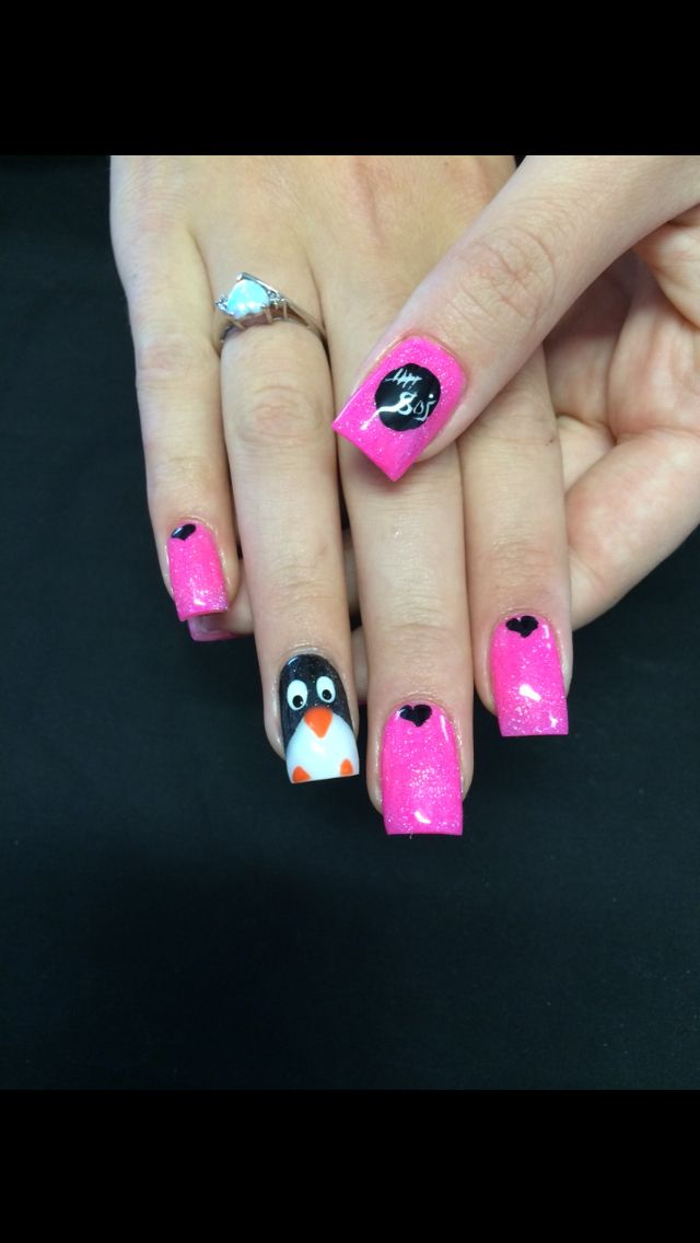 5 seconds of summer 5sos nails cute concert penguin acrylic pink amazing