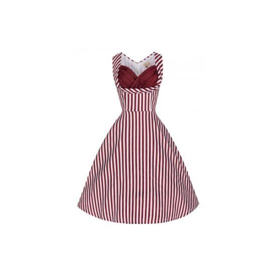 Retro šaty ve stylu 50. let. To pravé pro horké letní dny, zahradní slavnosti či párty. Dokonalé a nepřehlédnutelné šaty s proužkem v barvě burgundy a zajímavě řešeným výstřihem. Skvěle padnou, příjemný strečový materiál (97% bavlna, 3% elastan), v boku doplněné kapsami. Pro bohatší objem sukně doporučujeme doplnit spodničkou, kterou najdete také v nabídce.