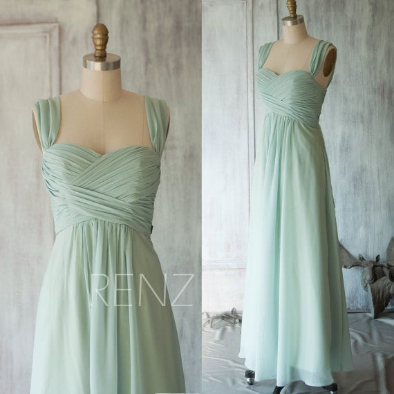2015 Dusty Shale Chiffon Bridesmaid dress, Wedding dress, A line Double Straps Party dress, Sheath Formal dress, Elegant Dress (T080)