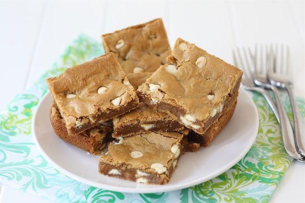 Biscoff White Chocolate Chip Blondies   Biscoff Spread Recipe   Two Peas & Their Pod