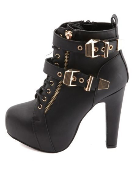 Lace-Up Belted Platform Booties: Charlotte Russe