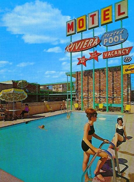 1960s motel & pool.  It looks like the old Holiday Inns.  We always stayed at a Holiday Inn going to/coming from  Ft. Lauderdale to see my mother's parents.  My father would play with my brother and me in the pool.  It was before cars had AC.  We went down in the summer.  The pool was the only fun part of the travel....maybe a few Howard Johnson's in there.  They had great chocolate lollipops.