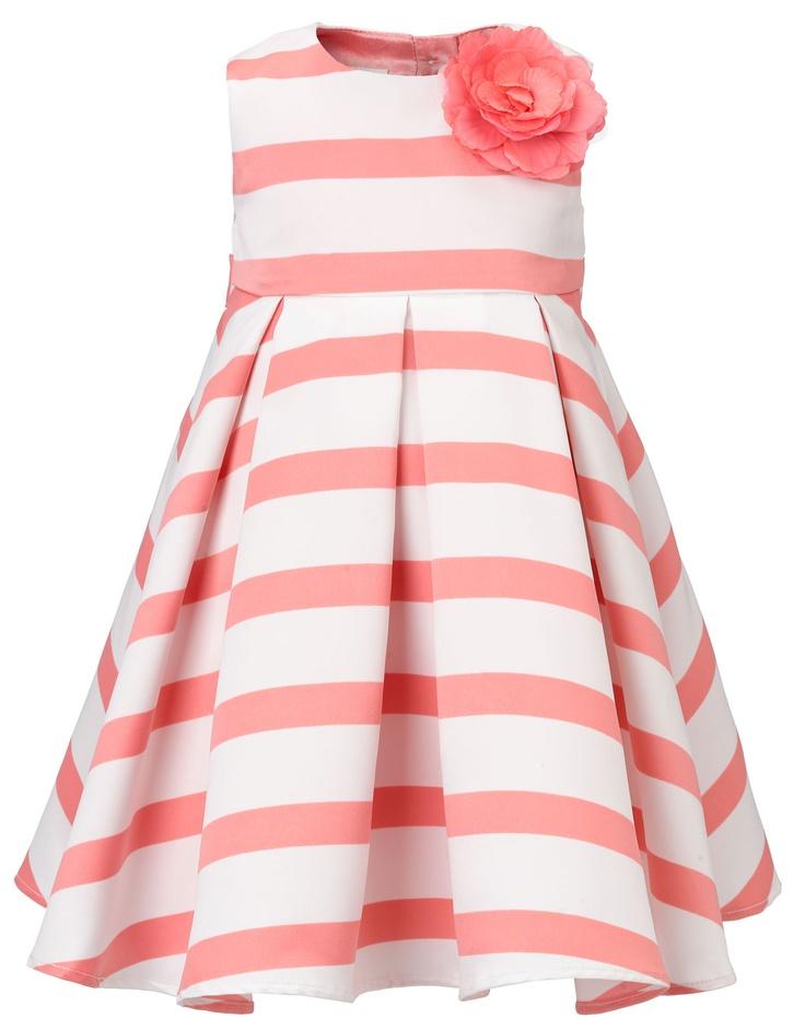 This coral and white flower girl dress is candy cute! Keywords: #stripethemedweddings #jevelweddingplanning Follow Us: www.jevelweddingplanning.com www.facebook.com/jevelweddingplanning/