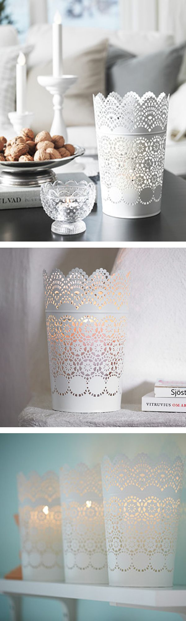 IKEA Fan Favorite: SKURAR candle holder. The warm light from the candle shines decoratively through the lace pattern on the lantern.