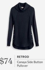 Stitch Fix 2017 Fashion! Redrod Canaya Side Button Pullover. Cute casual comfortable black pullover sweater.