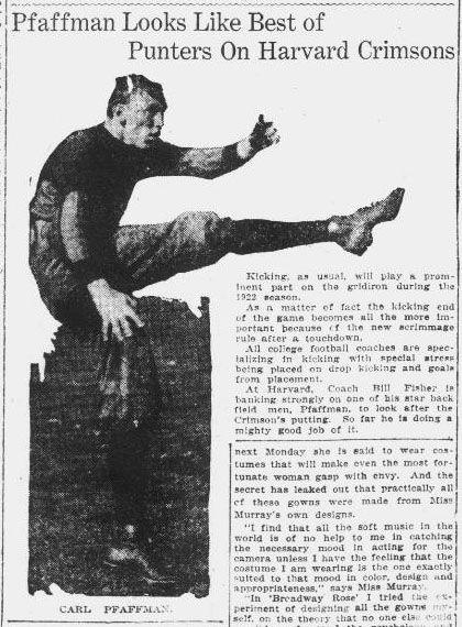 Article on Car Pfaffman, a punter for the Harvard Crimsons football team. The Pensacola journal-October 30, 1922.