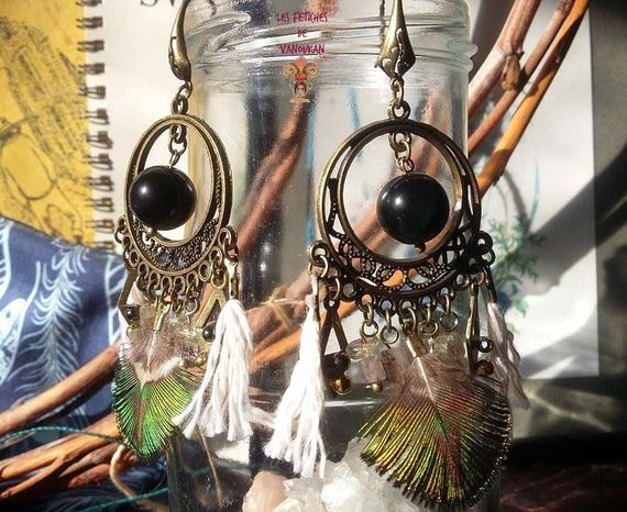 Boucles d'oreilles plume et Obsidienne oeil celeste