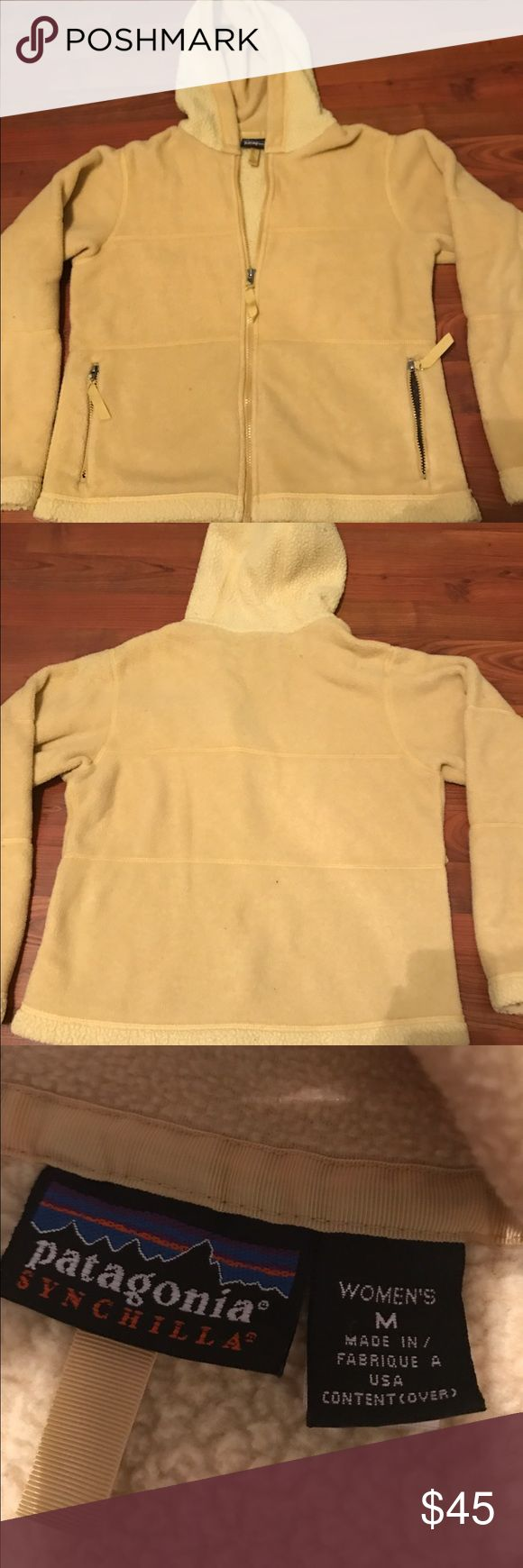 Patagonia Zip-Up Synchilla Fleece Jacket Mustard yellow fleece with hood. Women's M. Patagonia Jackets & Coats
