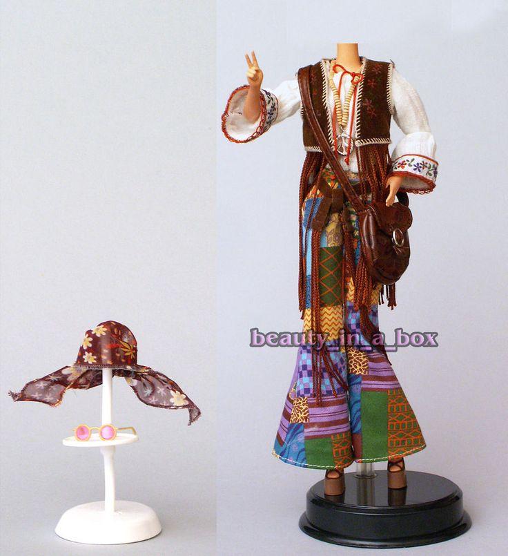 Chic Hippie Ensemble Fashion for Barbie Doll Granny Glasses Bell Bottoms Vest #Mattel #FashionforBarbieDoll