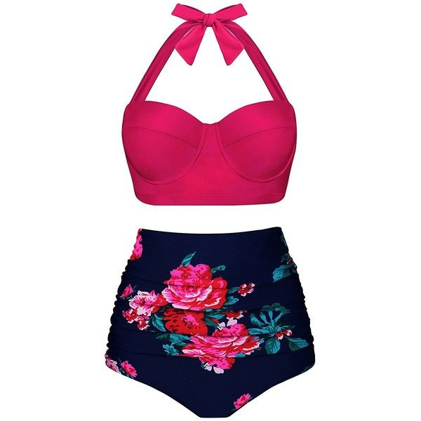 Aixy Women Vintage Swimsuits Bikinis Bathing Suits Retro Halter... ($13) ❤ liked on Polyvore featuring swimwear, bikinis, vintage swimsuits, underwire bathing suits, bikini bathing suits, halter bikini and retro bathing suits