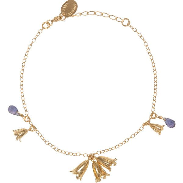 Alex Monroe Gold-Plated Bluebell Bracelet found on Polyvore featuring polyvore, women's fashion, jewelry, bracelets, polka dot jewelry, chain charm bracelet, chain pendants, pendant jewelry and gold plated jewellery