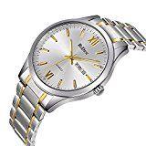 #10: Relojes relojes para hombre oro acero inoxidable reloj de moda de lujo resistente al agua muñeca analógico reloj de cuarzo