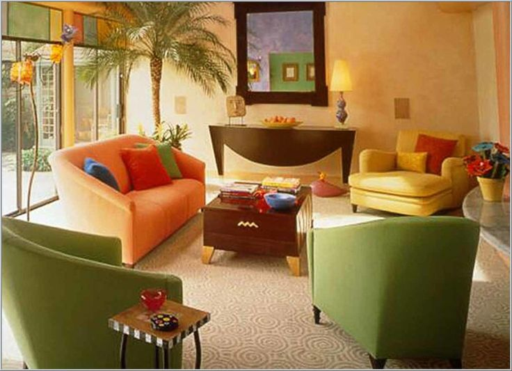 Home Interior Living Room Color Combinations Orange Yellow And Green Sofa Also Colorful Pillow Wooden Square Table Small Design Apartment