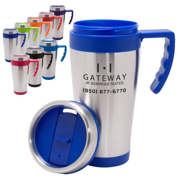 16 ounce stainless Travel Mugs from www.schoolspiritstore.com