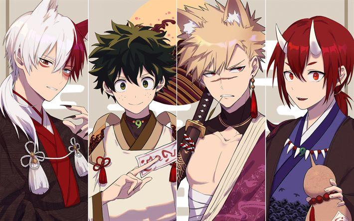 Download Hintergrundbilder Boku No Hero Academia, Kunst, alle Zeichen, Izuku Midoriya, Katsuki Bakugou, Ochako Uraraka, Tenya Iida