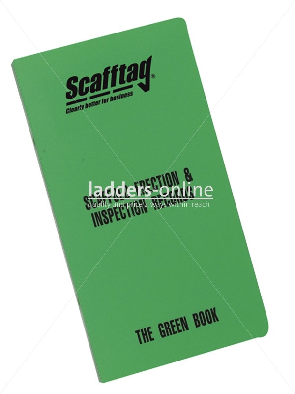 £64.50 Scafftag Green Book:The Green Book provides easy to follow, step by step guidance on legal requirements and all the necessary documents to set up your own scaffold tower inspection management system. Towers and other temporary access equipment should be audited at least twice a year and inspected every time before use.