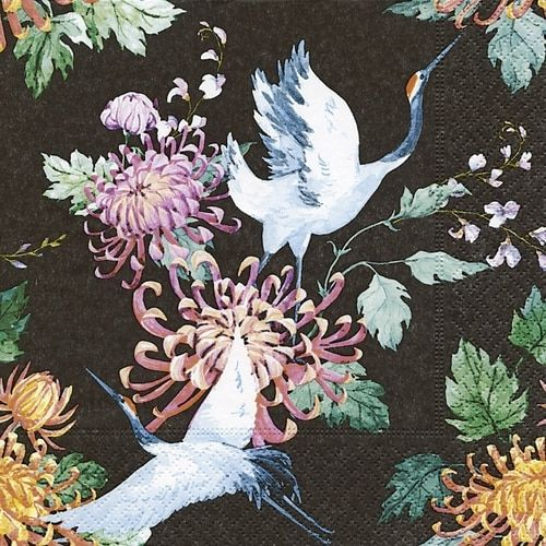 4 Lunch Paper Napkins for Decoupage Party Table Craft Vintage Japanese Cranes