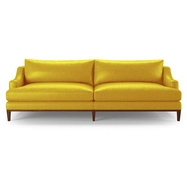 Joybird Price Mid Century Modern Yellow Leather Sofa 4 119 Liked On Polyvore Featuring Home Furniture Sofas